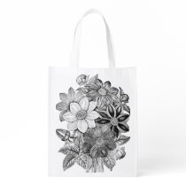 Vintage Flowers Black White Print Grocery Bag