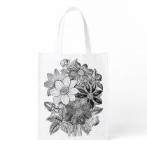 Vintage Flowers Black White Print Grocery Bag