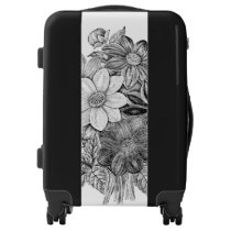 Vintage Flowers Black White Print Luggage