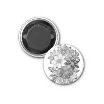 Vintage Flowers Black White Print Magnet