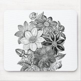 Vintage Flowers Black White Print Mouse Pad