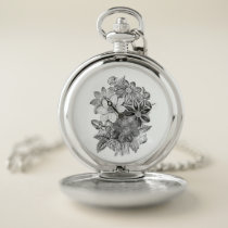 Vintage Flowers Black White Print Pocket Watch