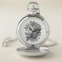 Vintage Flowers Black White Print Pocket Watch