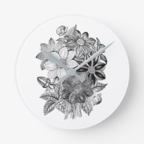 Vintage Flowers Black White Print Round Clock