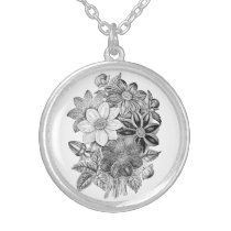 Vintage Flowers Black White Print Silver Plated Necklace