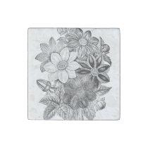 Vintage Flowers Black White Print Stone Magnet