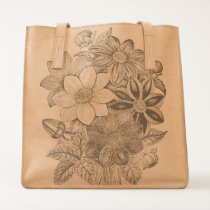 Vintage Flowers Black White Print Tote