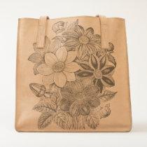 Vintage Flowers Black White Print Tote