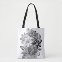 Vintage Flowers Black White Print Tote Bag