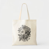 Vintage Flowers Black White Print Tote Bag