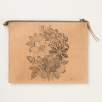 Vintage Flowers Black White Print Travel Pouch