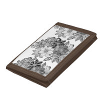 Vintage Flowers Black White Print Trifold Wallet