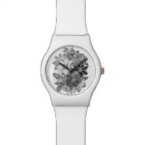 Vintage Flowers Black White Print Watch