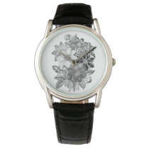 Vintage Flowers Black White Print Watch