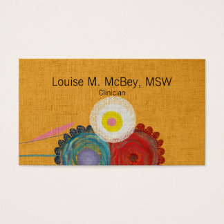 Vintage Flowers Blooming Info Centered Business Card