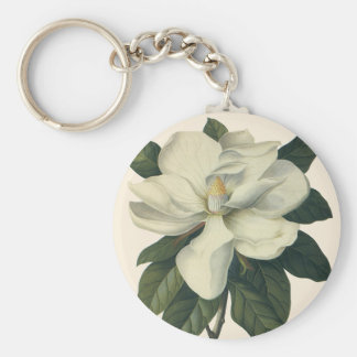 Vintage Flowers, Blooming White Magnolia Blossom Keychains