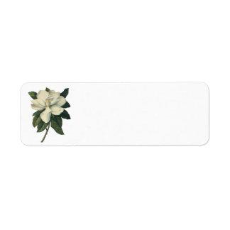 Vintage Flowers, Blooming White Magnolia Blossom Custom Return Address Label
