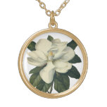 Vintage Flowers, Blooming White Magnolia Blossom Round Pendant Necklace
