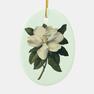 Vintage Flowers, Blooming White Magnolia Blossom Double-Sided Oval Ceramic Christmas Ornament
