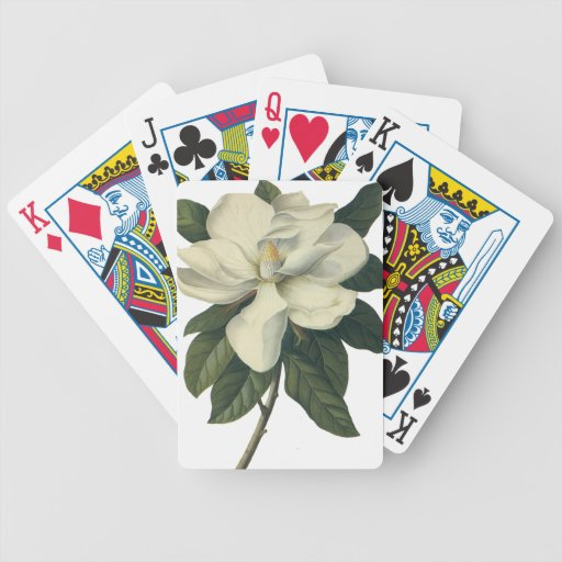 Vintage Flowers, Blooming White Magnolia Blossom Bicycle Card Deck