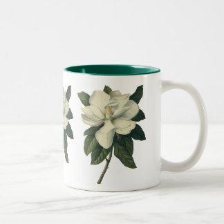 Vintage Flowers, Blooming White Magnolia Blossom Two-Tone Coffee Mug