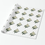Vintage Flowers, Blooming White Magnolia Blossom Gift Wrap Paper