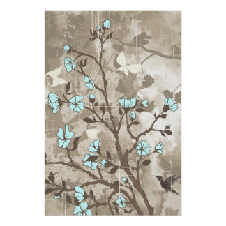 Vintage flowers blue, taupe floral grunge custom poster