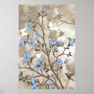 Vintage flowers blue taupe floral grunge custom poster