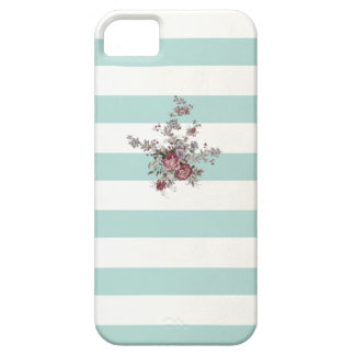 Vintage Flowers blue White and striped iPhone 5 ca iPhone SE/5/5s Case
