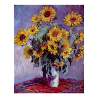Vintage Flowers, Bouquet of Sunflowers by Monet Poster