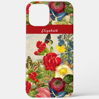 Vintage Flowers Butterflies Floral Garden Add Name Case-Mate iPhone Case by Sandyspider