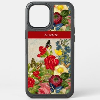 Vintage Flowers Butterflies Floral Garden Add Name OtterBox iPhone Case by Sandyspider