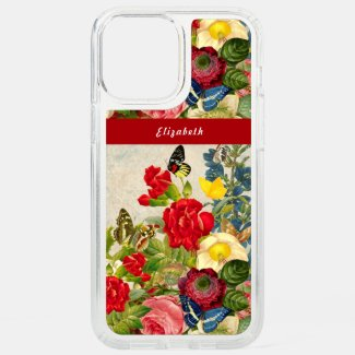 Vintage Flowers Butterflies Floral Garden Add Name Speck iPhone Case by Sandyspider