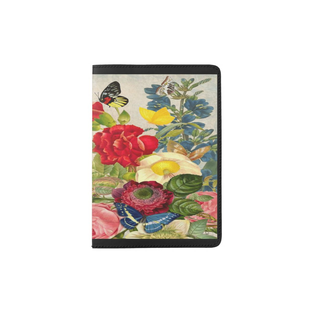 Vintage Flowers, Butterflies Passport Holder ZSSPG
