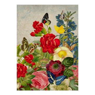 Vintage Flowers & Butterflies Value Poster Paper