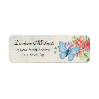 Vintage Flowers Butterfly Garden Nature Floral Label