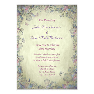 Vintage Flowers & Butterfly's Wedding Card