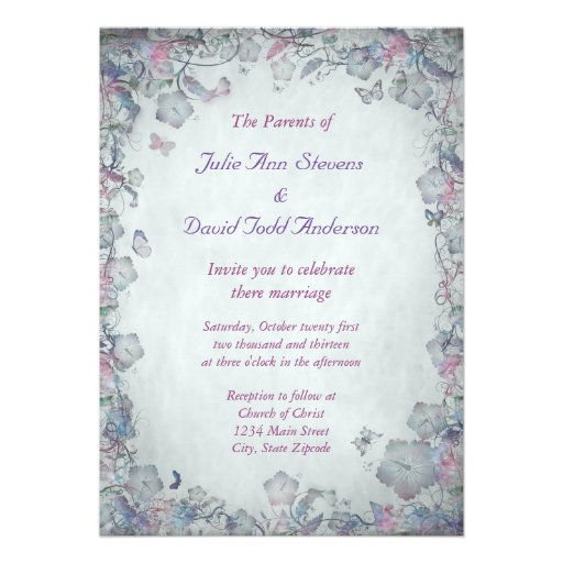 Vintage Flowers & Butterfly's Wedding Announcements