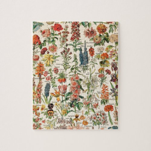 Vintage Flowers by Adolphe Millot Jigsaw Puzzle
