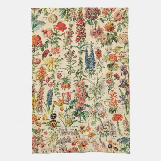 Vintage Flowers by Adolphe Millot Kitchen Towel