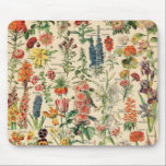 """Vintage Flowers by Adolphe Millot Mouse Pad<br><div class=""""desc"""">Vintage Flowers by Adolphe Millot. Please visit my store for more interesting design and more color choice => zazzle.com/colorfulworld*</div>"""