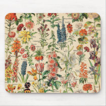 Vintage Flowers by Adolphe Millot Mouse Pad