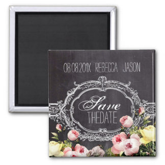 vintage flowers Chalkboard wedding save the date 2 Inch Square Magnet