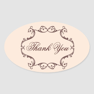 vintage flowers chandelier wedding thank you oval sticker