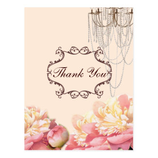 vintage flowers chandelier wedding thank you postcard