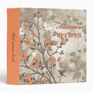 Vintage flowers coral, taupe floral recipe binder