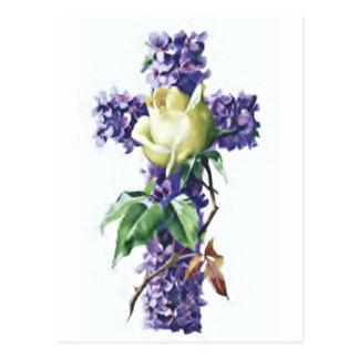 Vintage Flowers Cross Postcard