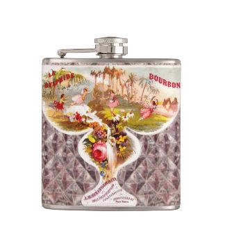 Vintage Flowers Crystal Whiskey Bottle Label Flask