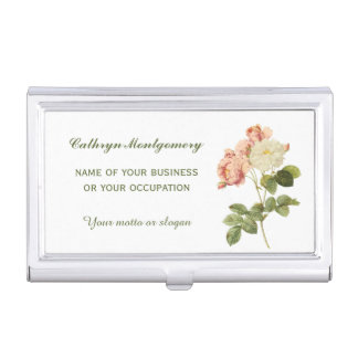Vintage Flowers Custom Business Card Holder