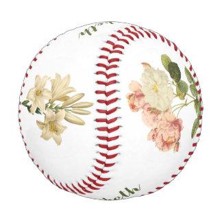 Vintage Flowers custom monogram baseball